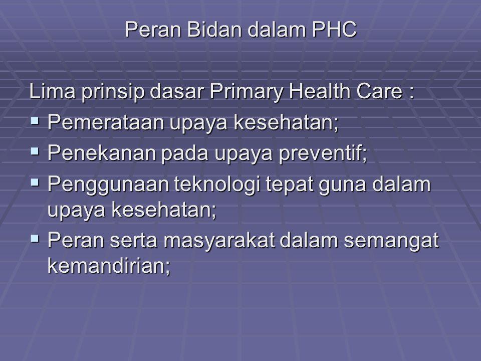 Peran Bidan dalam PHC Lima prinsip dasar Primary Health Care :  Pemerataan upaya kesehatan;  Penekanan pada upaya preventif;  Penggunaan teknologi tepat guna dalam upaya kesehatan;  Peran serta masyarakat dalam semangat kemandirian;