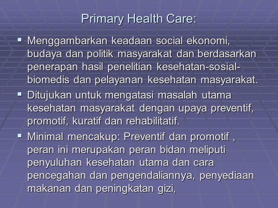  pembinaan kesehatan ibu dan anak termasuk keluarga berencana, imunisasi terhadap penyakit menular utama dan penyegahan penyakit endemic, pengobatan penyakit umum dan cedera serta penyediaan obat esensial.