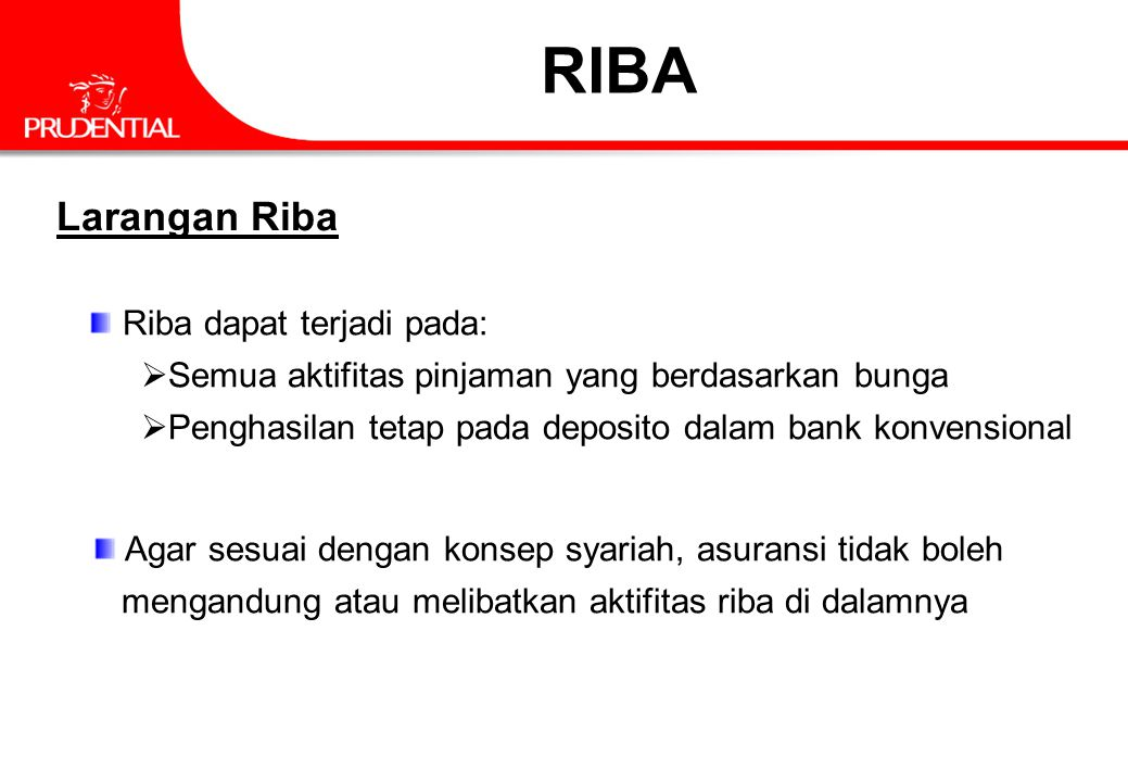 Larangan Riba Riba dapat terjadi pada:  Semua aktifitas pinjaman yang berdasarkan bunga  Penghasilan tetap pada deposito dalam bank konvensional Aga