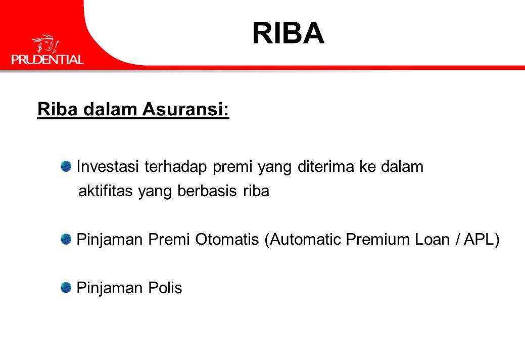 Riba dalam Asuransi: Investasi terhadap premi yang diterima ke dalam aktifitas yang berbasis riba Pinjaman Premi Otomatis (Automatic Premium Loan / AP