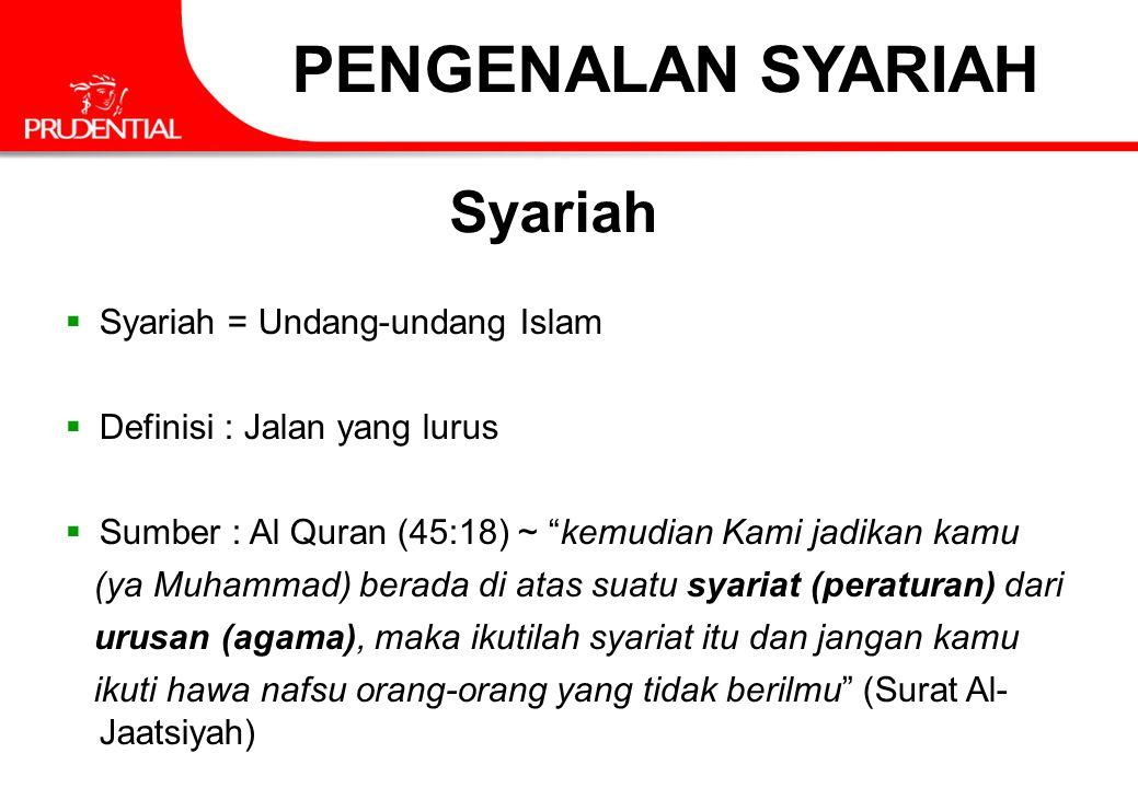 """PENGENALAN SYARIAH Syariah  Syariah = Undang-undang Islam  Definisi : Jalan yang lurus  Sumber : Al Quran (45:18) ~ """"kemudian Kami jadikan kamu (ya"""
