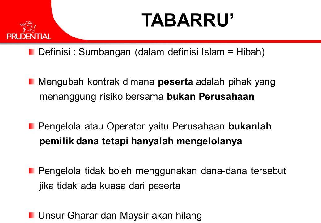 TABARRU' Definisi : Sumbangan (dalam definisi Islam = Hibah) Mengubah kontrak dimana peserta adalah pihak yang menanggung risiko bersama bukan Perusah