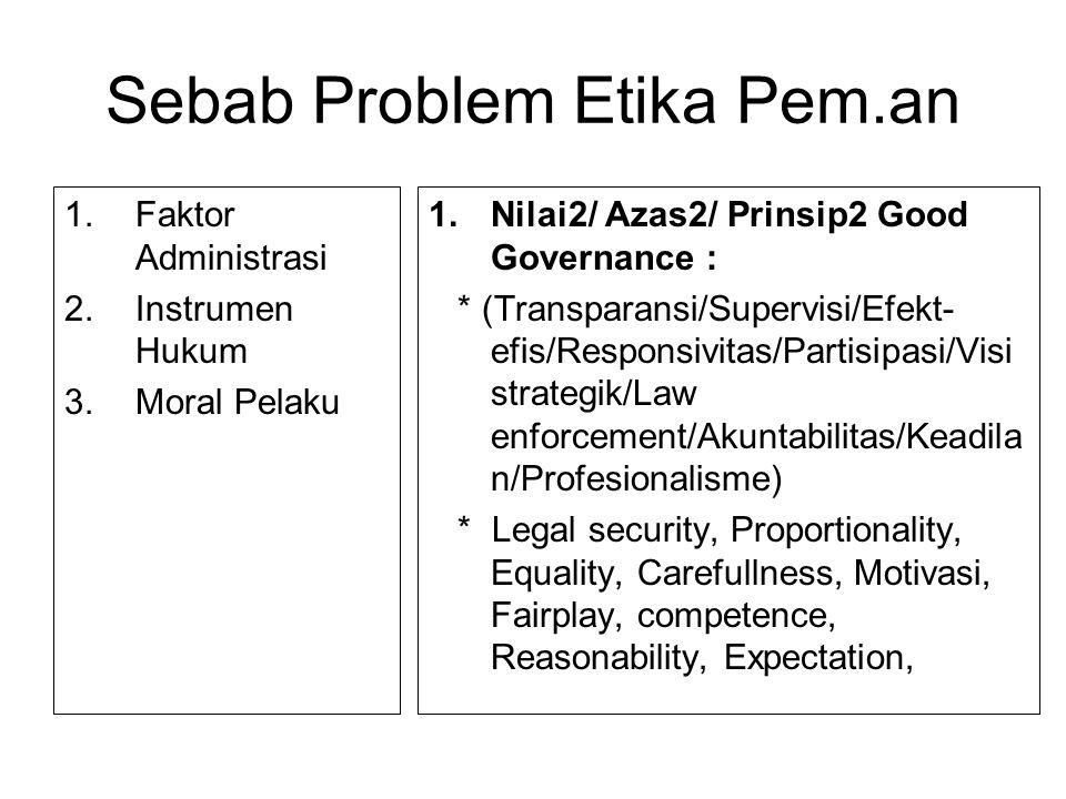 Sebab Problem Etika Pem.an 1.Faktor Administrasi 2.Instrumen Hukum 3.Moral Pelaku 1.Nilai2/ Azas2/ Prinsip2 Good Governance : * (Transparansi/Supervis