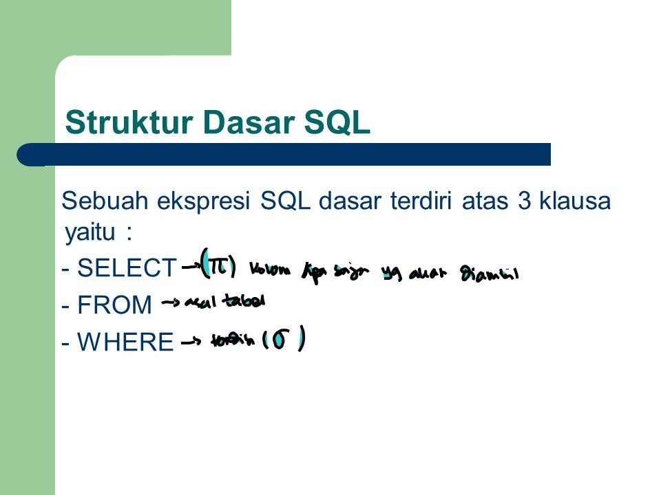MIN MIN  Untuk mengetahui nilai terkecil dari sebuah kolom tertentu dalam perintah select.