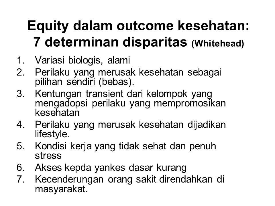 Equity dalam outcome kesehatan: 7 determinan disparitas (Whitehead) 1.Variasi biologis, alami 2.Perilaku yang merusak kesehatan sebagai pilihan sendir