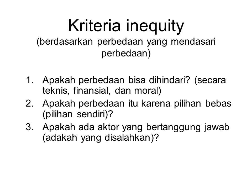 Kriteria inequity (berdasarkan perbedaan yang mendasari perbedaan) 1.Apakah perbedaan bisa dihindari? (secara teknis, finansial, dan moral) 2.Apakah p