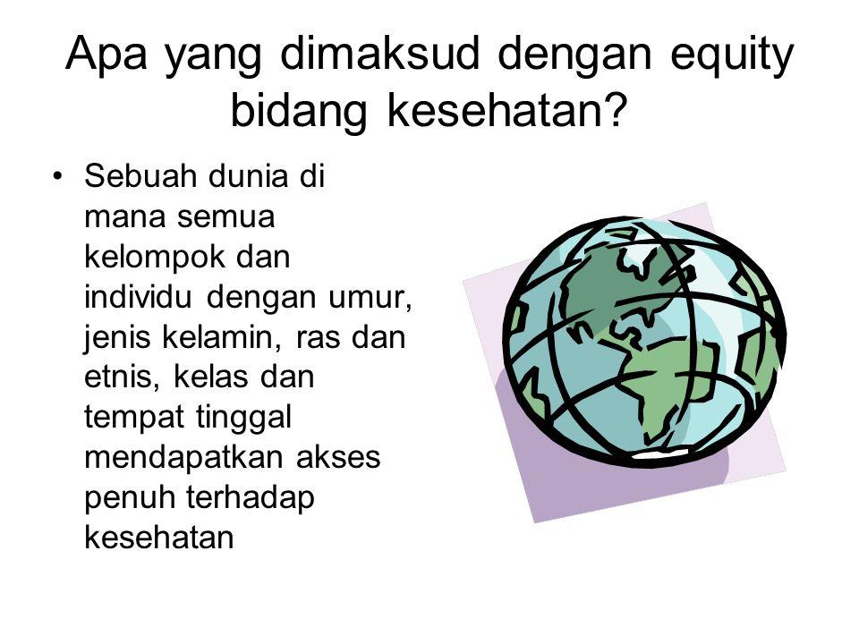Operasionalisasi equity Equity dalam akses yankes (akses sesuai dengan kebutuhan...) Equity dalam pembiayaan yankes (membayar sesuai kemampuan...) Equity dalam outcome kesehatan Equity dalam distribusi determinan kesehatan lainnya (pendidikan, partisipasi politik, dan kondisi hidup)