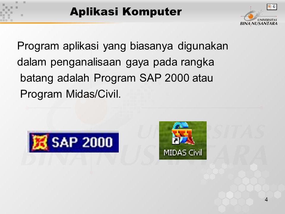 4 Aplikasi Komputer Program aplikasi yang biasanya digunakan dalam penganalisaan gaya pada rangka batang adalah Program SAP 2000 atau Program Midas/Civil.
