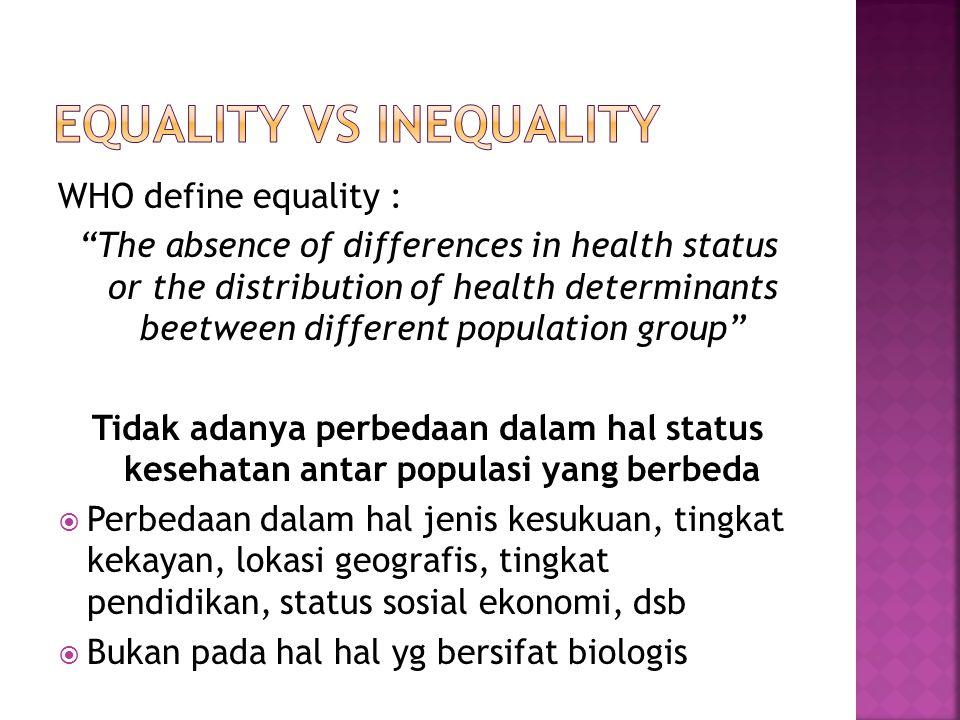  Apakah perbedaan status kesehatan tersebut adalah ADIL  Equity adalah ketimpangan dalam pelayanan kepada masyarakat