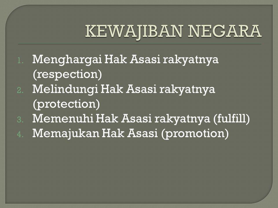 1. Menghargai Hak Asasi rakyatnya (respection) 2. Melindungi Hak Asasi rakyatnya (protection) 3. Memenuhi Hak Asasi rakyatnya (fulfill) 4. Memajukan H