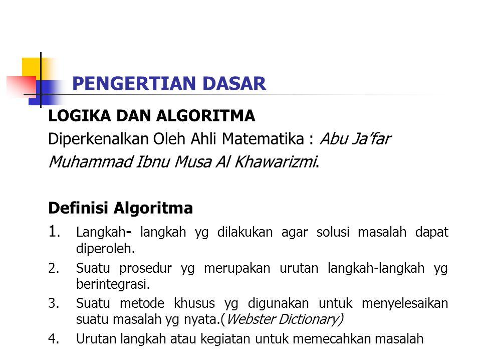 PENGERTIAN DASAR LOGIKA DAN ALGORITMA Diperkenalkan Oleh Ahli Matematika : Abu Ja'far Muhammad Ibnu Musa Al Khawarizmi.