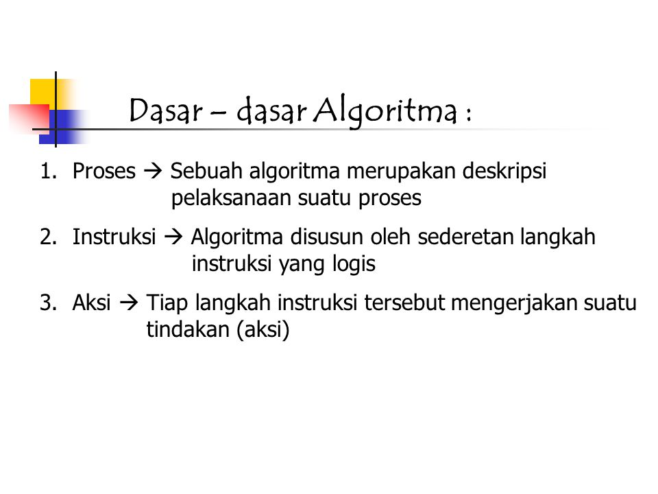 1.Proses  Sebuah algoritma merupakan deskripsi pelaksanaan suatu proses 2.Instruksi  Algoritma disusun oleh sederetan langkah instruksi yang logis 3.Aksi  Tiap langkah instruksi tersebut mengerjakan suatu tindakan (aksi) Dasar – dasar Algoritma :