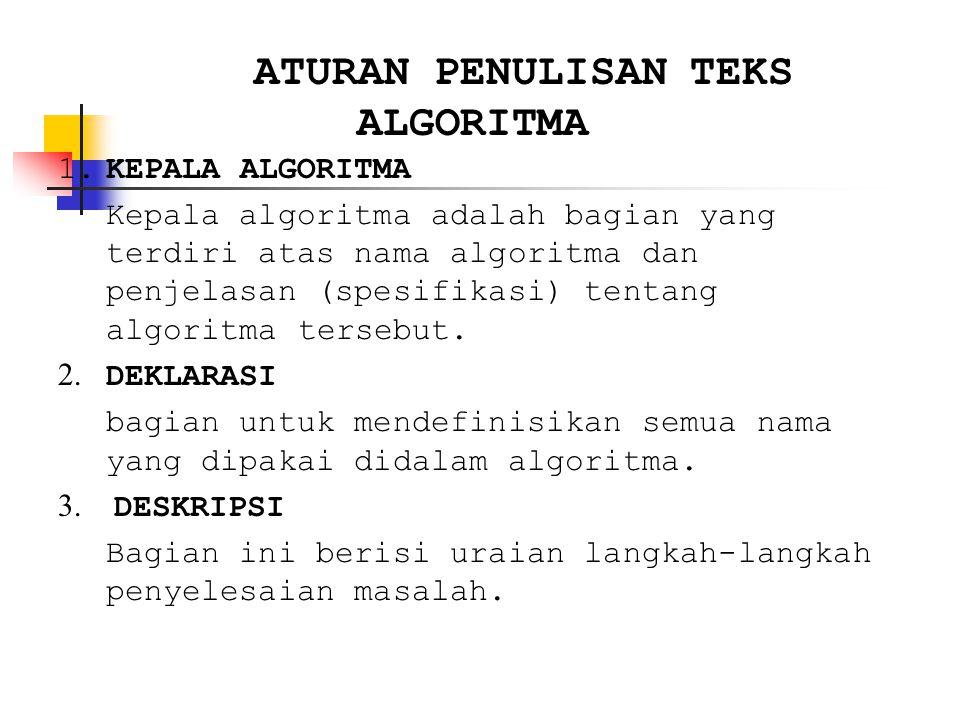 ATURAN PENULISAN TEKS ALGORITMA 1.KEPALA ALGORITMA Kepala algoritma adalah bagian yang terdiri atas nama algoritma dan penjelasan (spesifikasi) tentang algoritma tersebut.