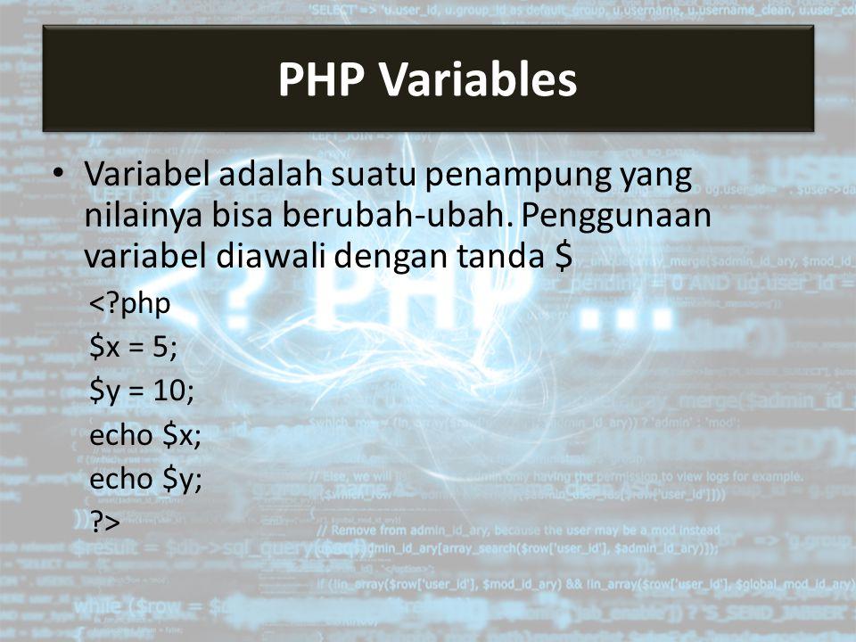 Variabel adalah suatu penampung yang nilainya bisa berubah-ubah.