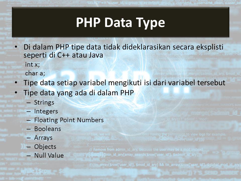 Di dalam PHP tipe data tidak dideklarasikan secara eksplisti seperti di C++ atau Java int x; char a; Tipe data setiap variabel mengikuti isi dari variabel tersebut Tipe data yang ada di dalam PHP – Strings – Integers – Floating Point Numbers – Booleans – Arrays – Objects – Null Value PHP Data Type