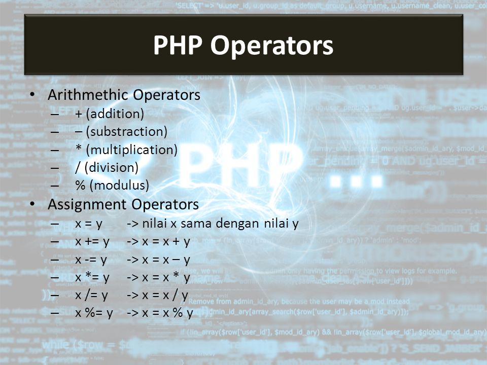 Arithmethic Operators – + (addition) – – (substraction) – * (multiplication) – / (division) – % (modulus) Assignment Operators – x = y -> nilai x sama