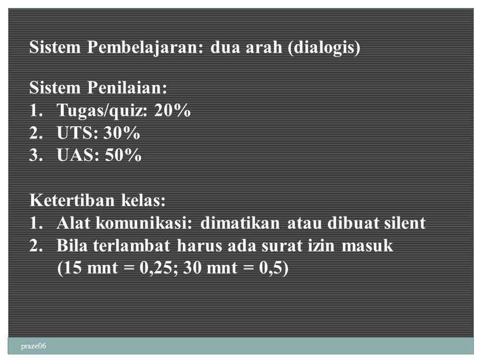 praze06 Sistem Pembelajaran: dua arah (dialogis) Sistem Penilaian: 1.Tugas/quiz: 20% 2.UTS: 30% 3.UAS: 50% Ketertiban kelas: 1.Alat komunikasi: dimati