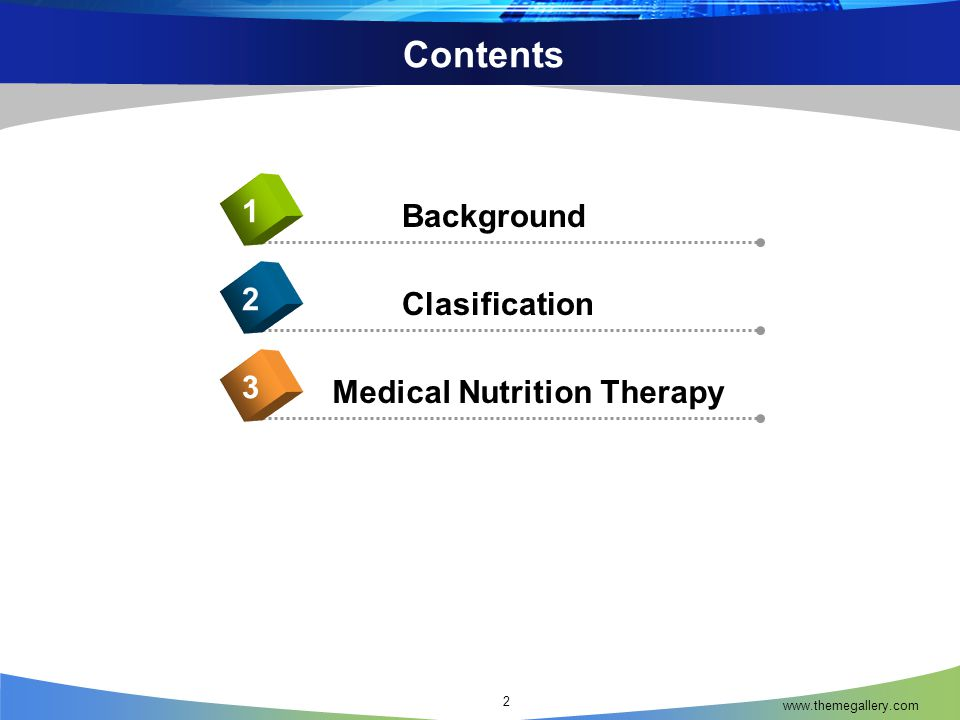 www.themegallery.com Contents 2 Background 1 Clasification 2 Medical Nutrition Therapy 3