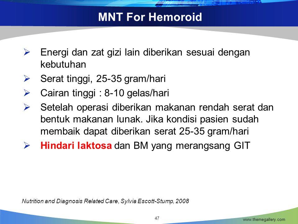 MNT For Hemoroid www.themegallery.com 47  Energi dan zat gizi lain diberikan sesuai dengan kebutuhan  Serat tinggi, 25-35 gram/hari  Cairan tinggi