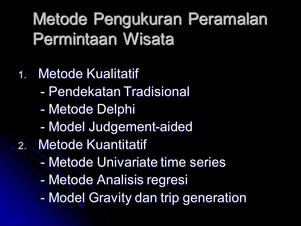 Metode Pengukuran Peramalan Permintaan Wisata 1. Metode Kualitatif - Pendekatan Tradisional - Pendekatan Tradisional - Metode Delphi - Metode Delphi -
