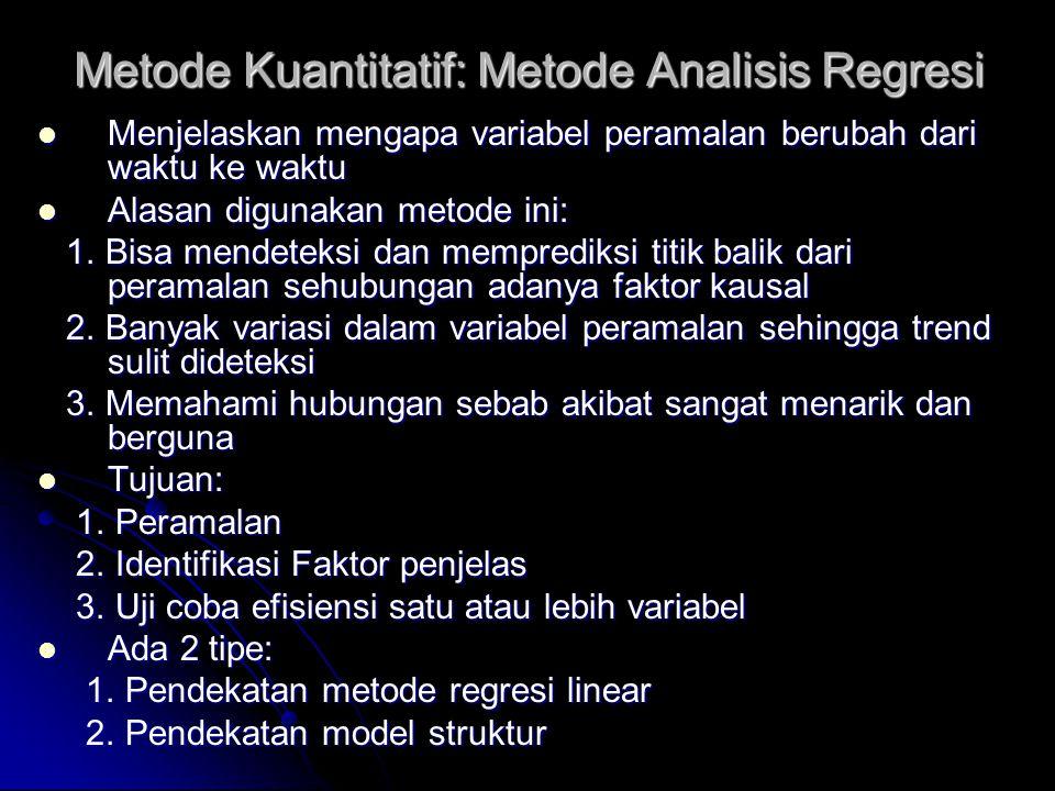 Metode Kuantitatif: Metode Analisis Regresi Menjelaskan mengapa variabel peramalan berubah dari waktu ke waktu Menjelaskan mengapa variabel peramalan