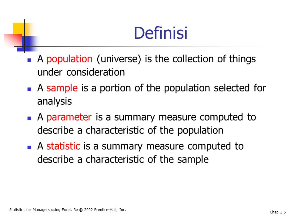 Statistics for Managers using Excel, 3e © 2002 Prentice-Hall, Inc. Chap 1-5 Definisi A population (universe) is the collection of things under conside