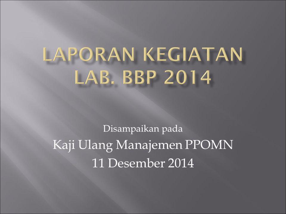 Disampaikan pada Kaji Ulang Manajemen PPOMN 11 Desember 2014