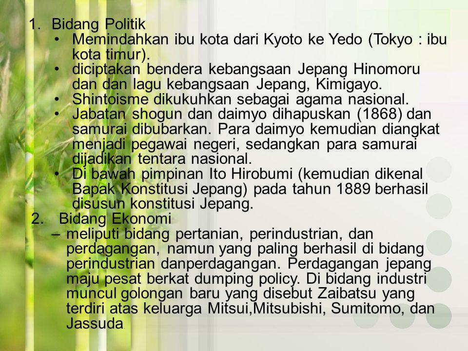 Pada tanggal 6 April 1868, Meiji Tenno memproklamasikan Charter Outh (Sumpah Setia) menuju Jepang baru yang terdiri atas lima pasal, seperti berikut.
