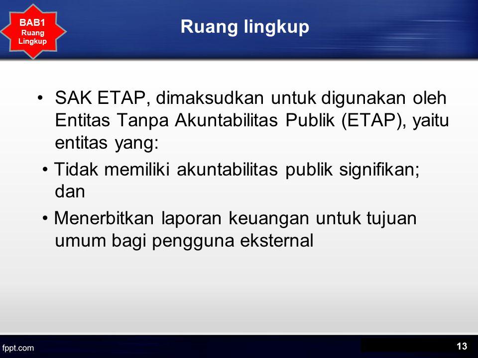 Ruang lingkup SAK ETAP, dimaksudkan untuk digunakan oleh Entitas Tanpa Akuntabilitas Publik (ETAP), yaitu entitas yang: Tidak memiliki akuntabilitas publik signifikan; dan Menerbitkan laporan keuangan untuk tujuan umum bagi pengguna eksternal 13 BAB1 Ruang Lingkup