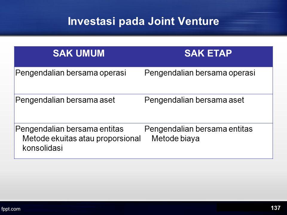 SAK UMUMSAK ETAP Pengendalian bersama operasi Pengendalian bersama aset Pengendalian bersama entitas Metode ekuitas atau proporsional konsolidasi Pengendalian bersama entitas Metode biaya Investasi pada Joint Venture 137
