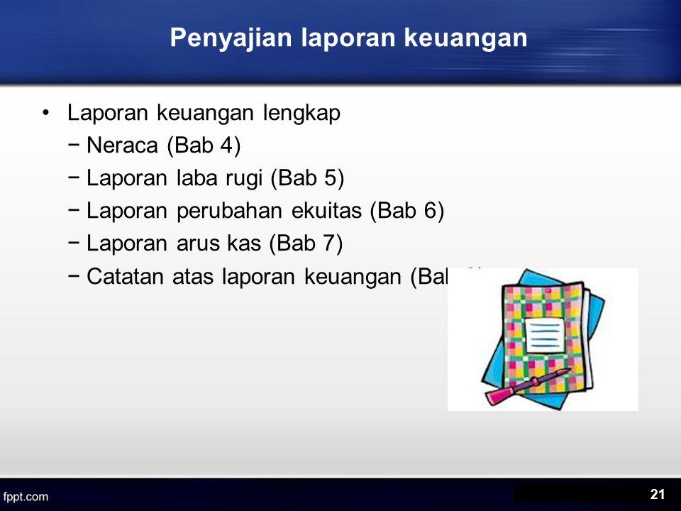 Penyajian laporan keuangan Laporan keuangan lengkap − Neraca (Bab 4) − Laporan laba rugi (Bab 5) − Laporan perubahan ekuitas (Bab 6) − Laporan arus kas (Bab 7) − Catatan atas laporan keuangan (Bab 8) 21