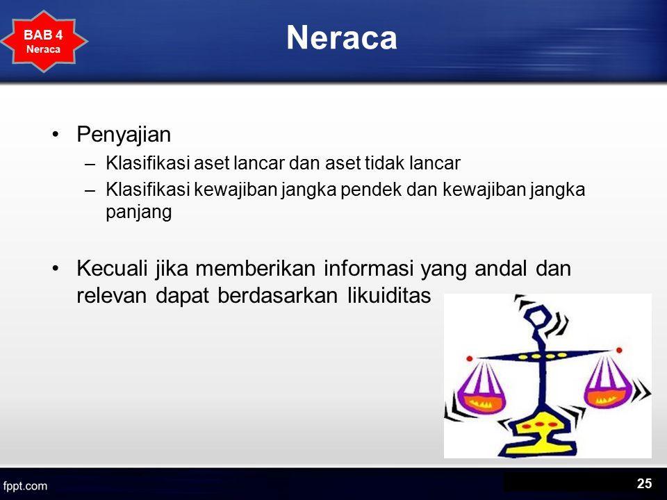 Neraca Penyajian –Klasifikasi aset lancar dan aset tidak lancar –Klasifikasi kewajiban jangka pendek dan kewajiban jangka panjang Kecuali jika memberikan informasi yang andal dan relevan dapat berdasarkan likuiditas 25 BAB 4 Neraca