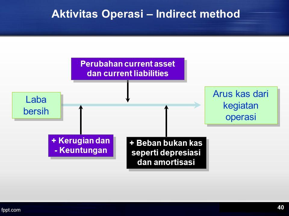 Aktivitas Operasi – Indirect method Laba bersih Arus kas dari kegiatan operasi Perubahan current asset dan current liabilities + Kerugian dan - Keuntungan + Beban bukan kas seperti depresiasi dan amortisasi 40