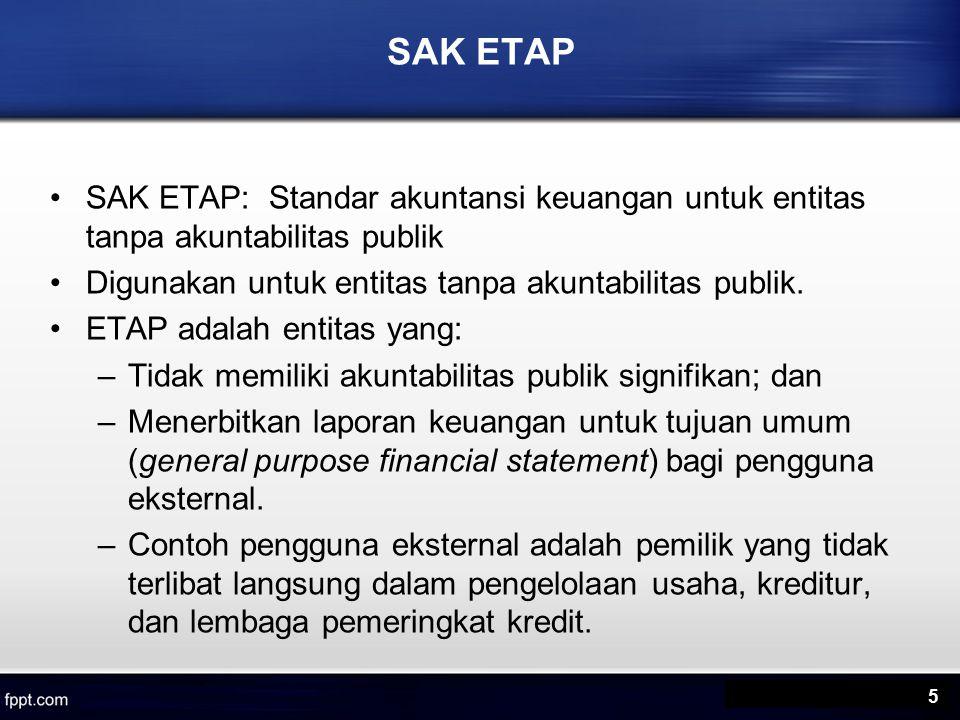 Perbedaan Pokok PSAK dan SAK ETAP SAK ETAP tidak mengatur pajak tangguhan SAK ETAP hanya menggunakan metode tidak langsung untuk laporan arus kas.