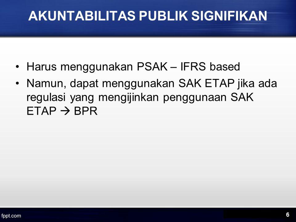 AKUNTABILITAS PUBLIK SIGNIFIKAN Harus menggunakan PSAK – IFRS based Namun, dapat menggunakan SAK ETAP jika ada regulasi yang mengijinkan penggunaan SAK ETAP  BPR 6