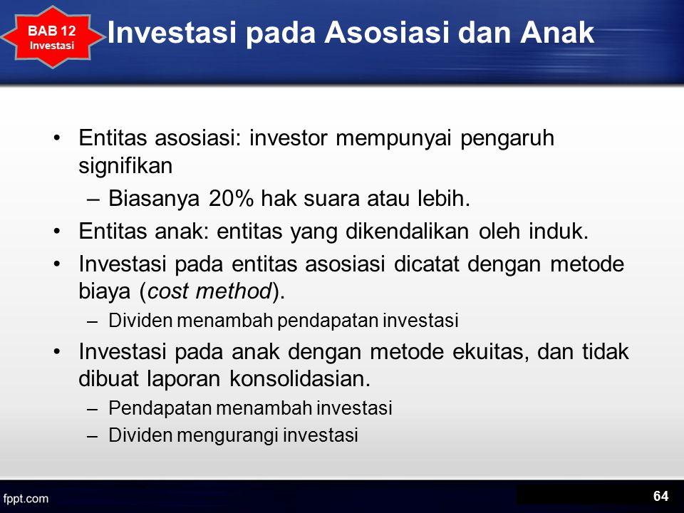 Investasi pada Asosiasi dan Anak Entitas asosiasi: investor mempunyai pengaruh signifikan –Biasanya 20% hak suara atau lebih.
