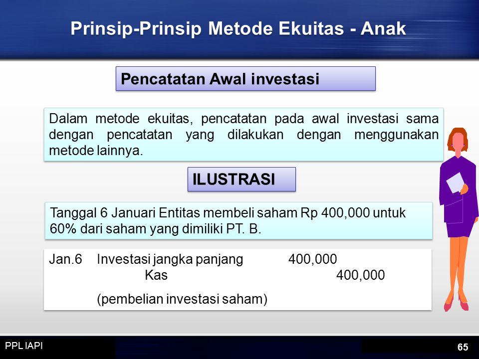 Prinsip-Prinsip Metode Ekuitas - Anak Pencatatan Awal investasi Dalam metode ekuitas, pencatatan pada awal investasi sama dengan pencatatan yang dilakukan dengan menggunakan metode lainnya.