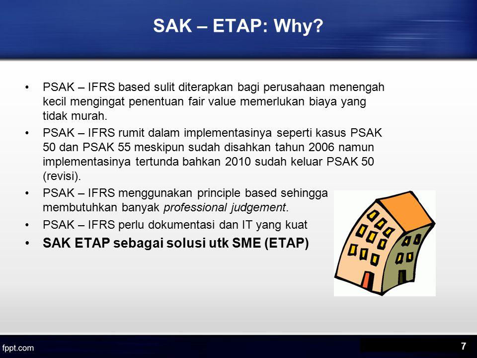 Manfaat SAK ETAP Diharapkan dengan adanya SAK ETAP, perusahaan kecil, menengah, mampu untuk –menyusun laporan keuangannya sendiri, –dapat diaudit dan mendapatkan opini audit, sehingga dapat menggunakan laporan keuangannya untuk mendapatkan dana (misalnya dari Bank) untuk pengembangan usaha.