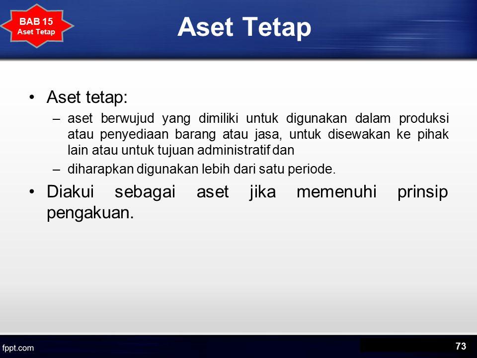 Aset Tetap Aset tetap: –aset berwujud yang dimiliki untuk digunakan dalam produksi atau penyediaan barang atau jasa, untuk disewakan ke pihak lain atau untuk tujuan administratif dan –diharapkan digunakan lebih dari satu periode.