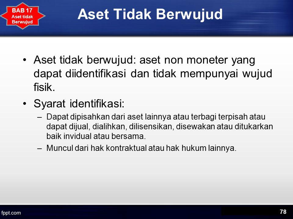 Aset Tidak Berwujud Aset tidak berwujud: aset non moneter yang dapat diidentifikasi dan tidak mempunyai wujud fisik.
