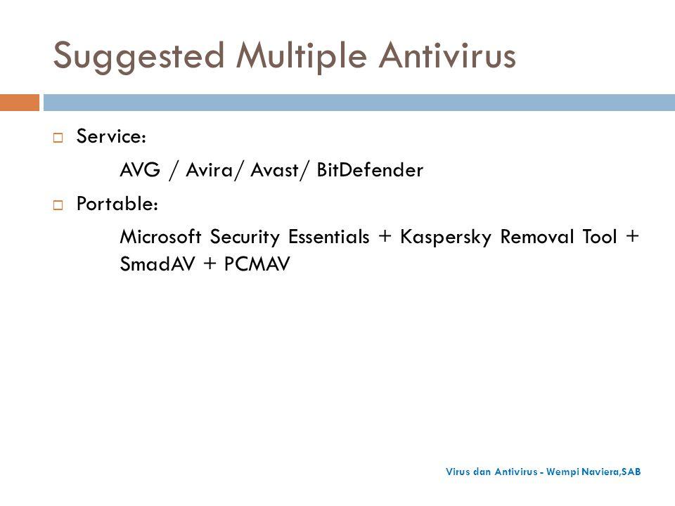 Suggested Multiple Antivirus  Service: AVG / Avira/ Avast/ BitDefender  Portable: Microsoft Security Essentials + Kaspersky Removal Tool + SmadAV +