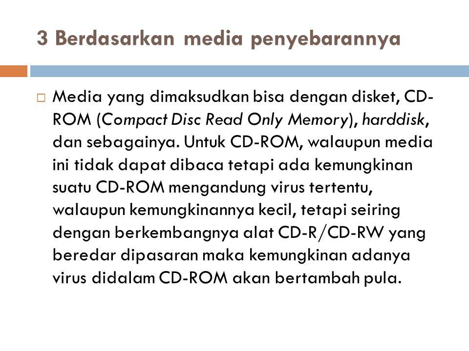 3 Berdasarkan media penyebarannya  Media yang dimaksudkan bisa dengan disket, CD- ROM (Compact Disc Read Only Memory), harddisk, dan sebagainya. Untu