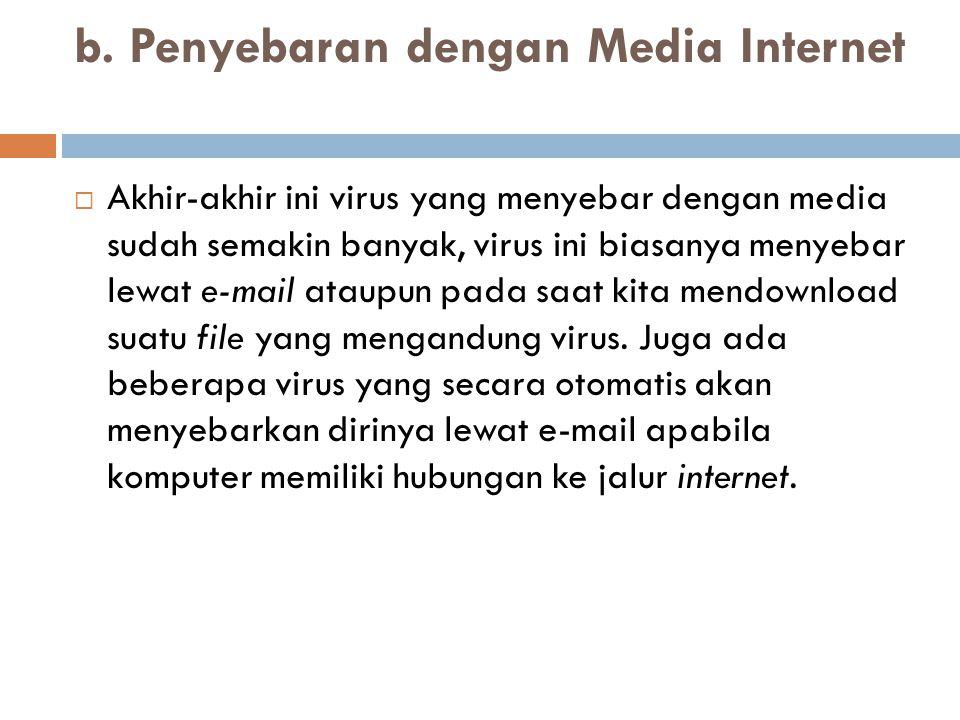 b. Penyebaran dengan Media Internet  Akhir-akhir ini virus yang menyebar dengan media sudah semakin banyak, virus ini biasanya menyebar lewat e-mail