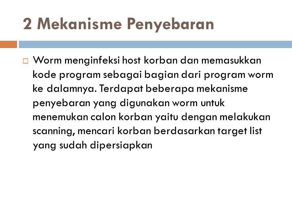 2 Mekanisme Penyebaran  Worm menginfeksi host korban dan memasukkan kode program sebagai bagian dari program worm ke dalamnya. Terdapat beberapa meka