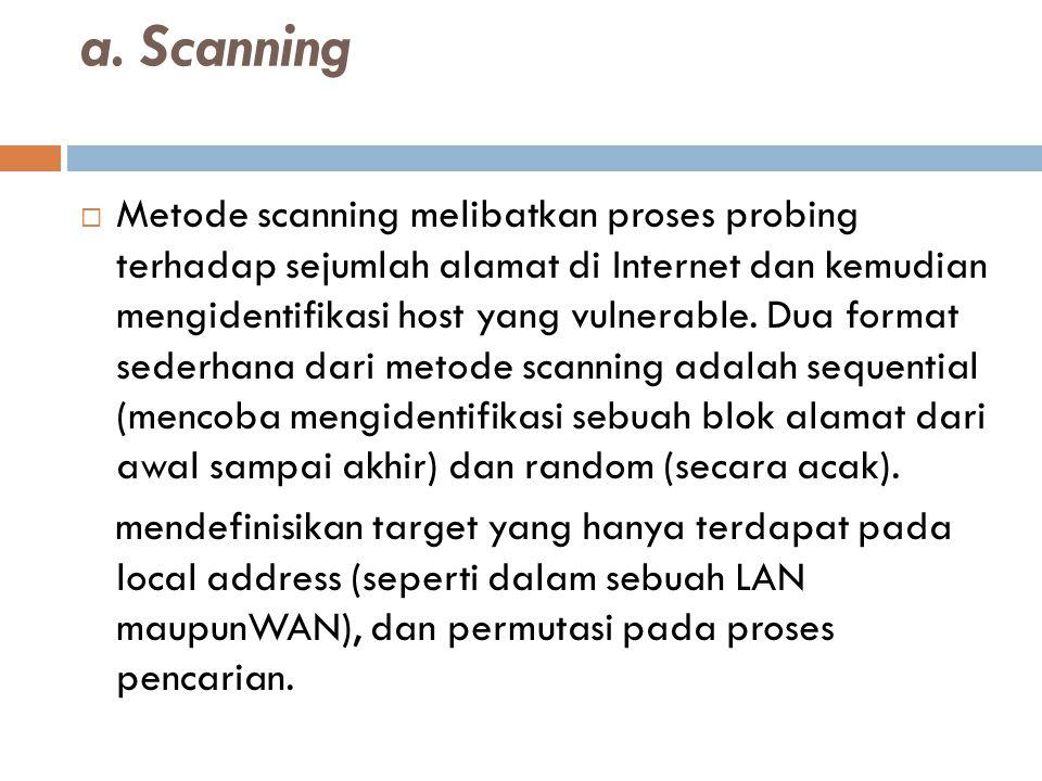 a. Scanning  Metode scanning melibatkan proses probing terhadap sejumlah alamat di Internet dan kemudian mengidentifikasi host yang vulnerable. Dua f