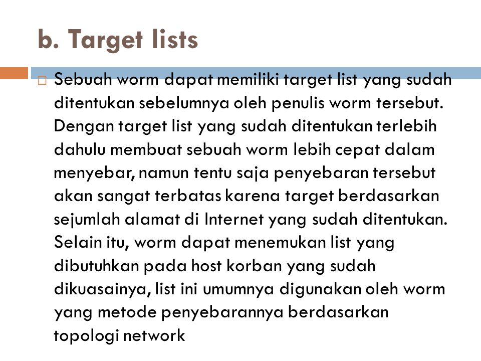 b. Target lists  Sebuah worm dapat memiliki target list yang sudah ditentukan sebelumnya oleh penulis worm tersebut. Dengan target list yang sudah di