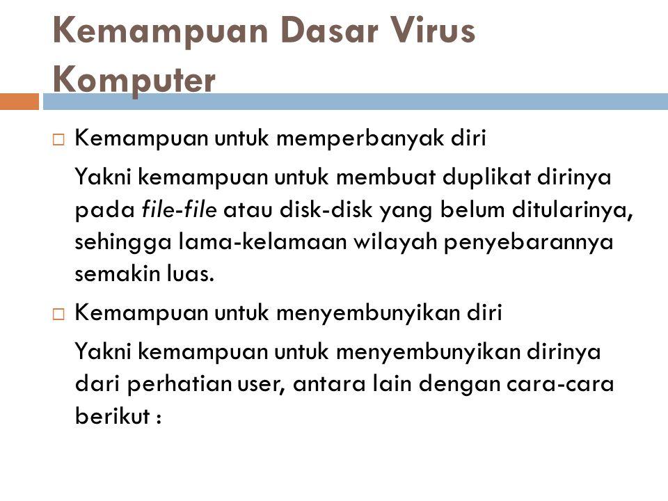 Kemampuan Dasar Virus Komputer  Kemampuan untuk memperbanyak diri Yakni kemampuan untuk membuat duplikat dirinya pada file-file atau disk-disk yang b