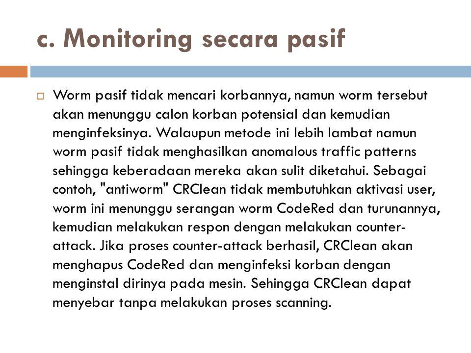 c. Monitoring secara pasif  Worm pasif tidak mencari korbannya, namun worm tersebut akan menunggu calon korban potensial dan kemudian menginfeksinya.