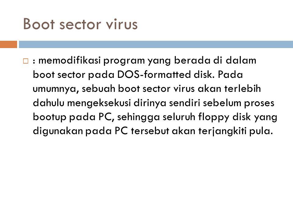 Boot sector virus  : memodifikasi program yang berada di dalam boot sector pada DOS-formatted disk. Pada umumnya, sebuah boot sector virus akan terle