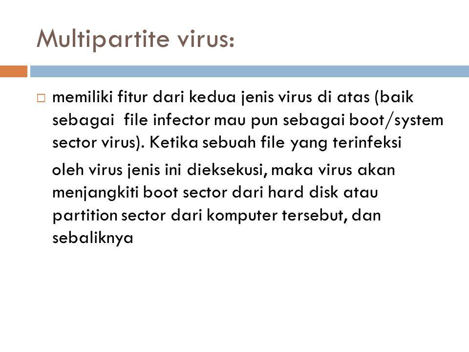 Multipartite virus:  memiliki fitur dari kedua jenis virus di atas (baik sebagai file infector mau pun sebagai boot/system sector virus). Ketika sebu
